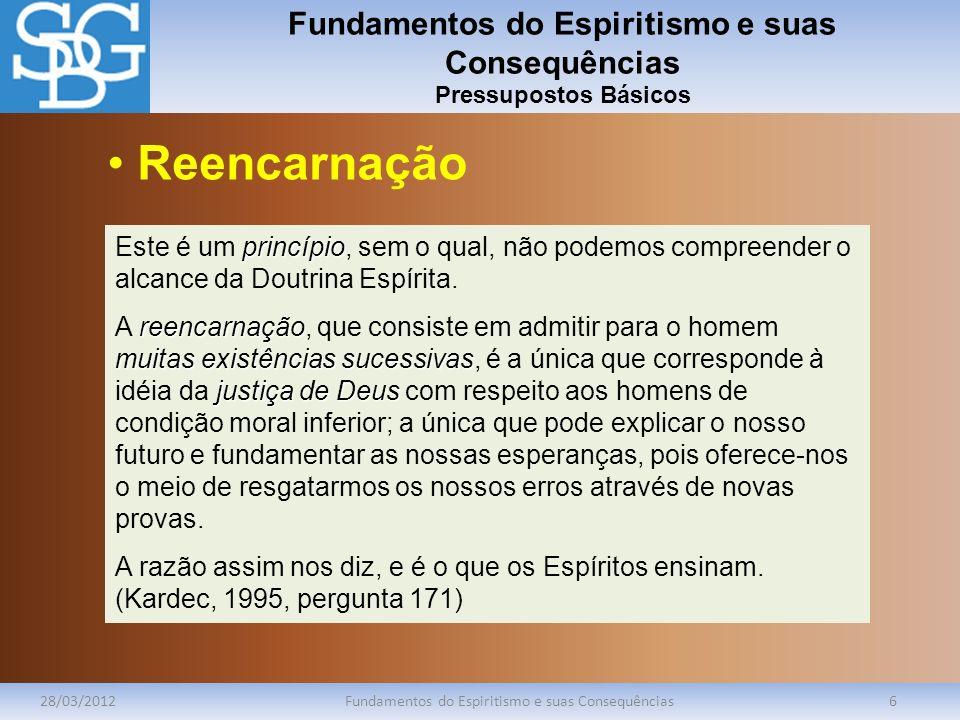 Fundamentos do Espiritismo e suas Consequências Pressupostos Básicos 28/03/2012Fundamentos do Espiritismo e suas Consequências6 princípio Este é um pr