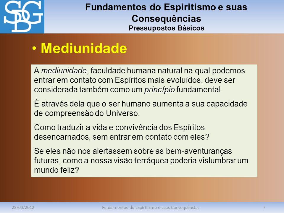 Fundamentos do Espiritismo e suas Consequências Pressupostos Básicos 28/03/2012Fundamentos do Espiritismo e suas Consequências8 processo de evolução O ser humano está sempre num processo de evolução.