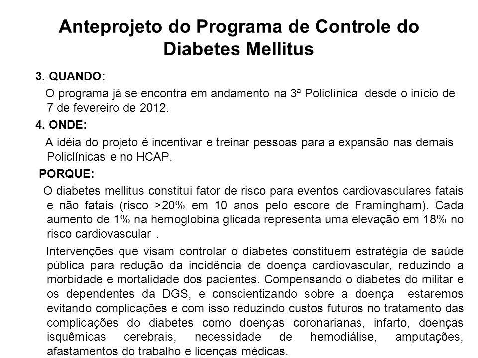 Anteprojeto do Programa de Controle do Diabetes Mellitus 3. QUANDO: O programa já se encontra em andamento na 3ª Policlínica desde o início de 7 de fe