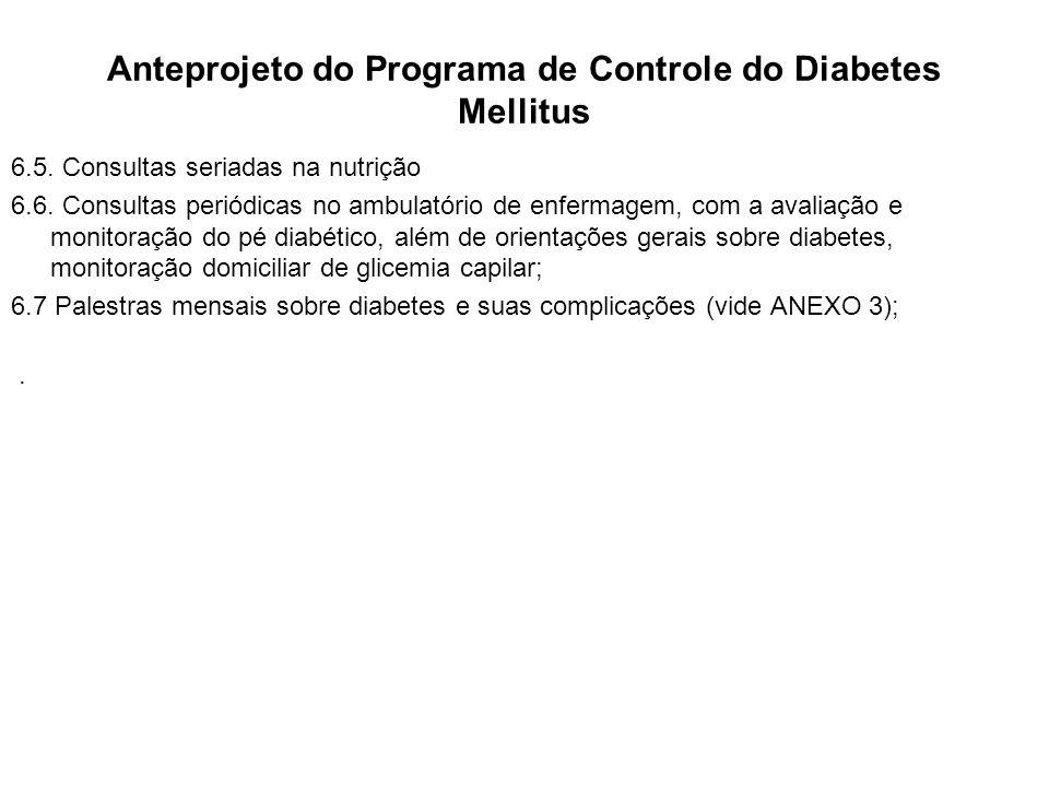 Anteprojeto do Programa de Controle do Diabetes Mellitus 6.5. Consultas seriadas na nutrição 6.6. Consultas periódicas no ambulatório de enfermagem, c