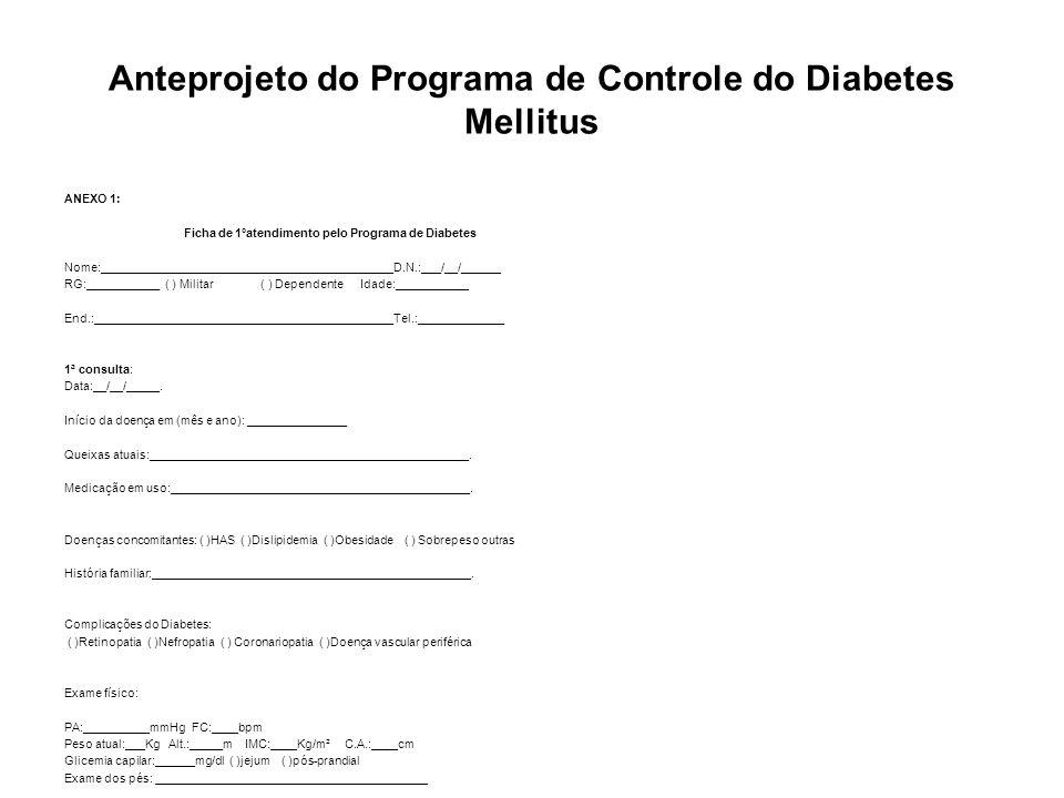 Anteprojeto do Programa de Controle do Diabetes Mellitus ANEXO 2: Ficha de seguimento pelo Programa de Diabetes Data da consulta:___/__/____ Sinais/sintomas:_____________________________________________________ ___________________________________________________________________.