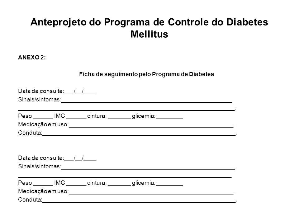Anteprojeto do Programa de Controle do Diabetes Mellitus ANEXO 2: Ficha de seguimento pelo Programa de Diabetes Data da consulta:___/__/____ Sinais/si