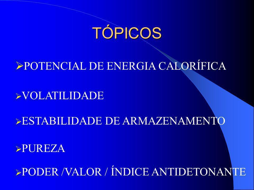 TÓPICOS POTENCIAL DE ENERGIA CALORÍFICA VOLATILIDADE ESTABILIDADE DE ARMAZENAMENTO PUREZA PODER /VALOR / ÍNDICE ANTIDETONANTE