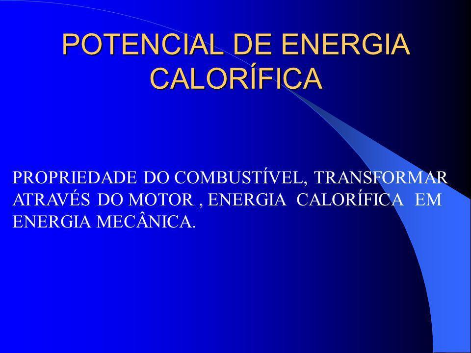 POTENCIAL DE ENERGIA CALORÍFICA PROPRIEDADE DO COMBUSTÍVEL, TRANSFORMAR ATRAVÉS DO MOTOR, ENERGIA CALORÍFICA EM ENERGIA MECÂNICA.
