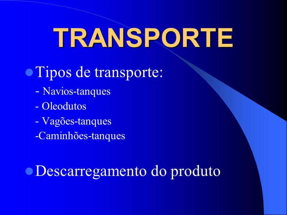 TRANSPORTE Tipos de transporte: - Navios-tanques - Oleodutos - Vagões-tanques -Caminhões-tanques Descarregamento do produto