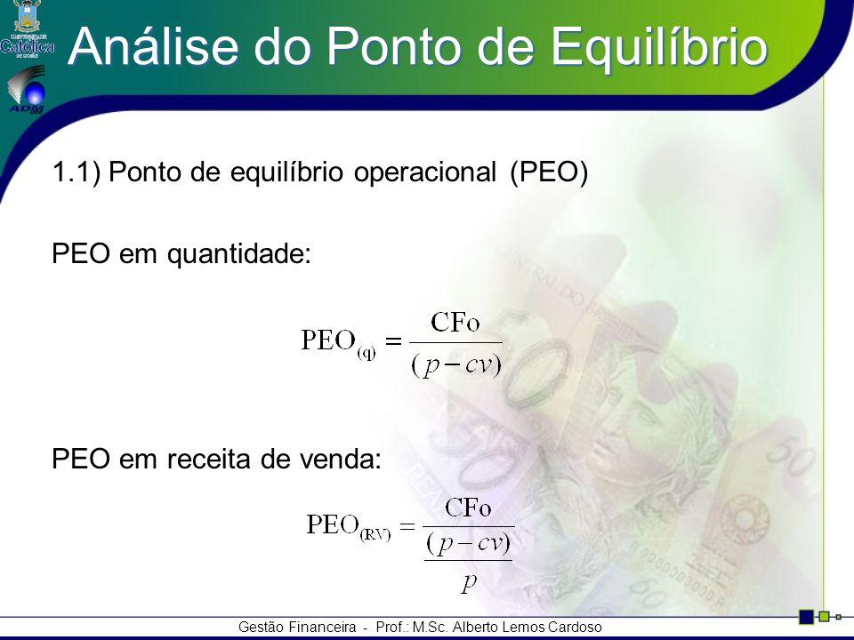 Gestão Financeira - Prof.: M.Sc. Alberto Lemos Cardoso Análise do Ponto de Equilíbrio 1.1) Ponto de equilíbrio operacional (PEO) PEO em quantidade: PE