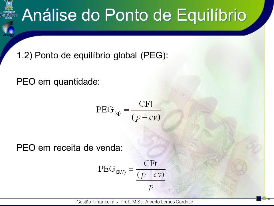 Gestão Financeira - Prof.: M.Sc. Alberto Lemos Cardoso Análise do Ponto de Equilíbrio 1.2) Ponto de equilíbrio global (PEG): PEO em quantidade: PEO em