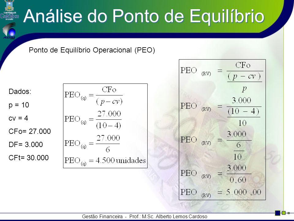 Gestão Financeira - Prof.: M.Sc. Alberto Lemos Cardoso Análise do Ponto de Equilíbrio Dados: p = 10 cv = 4 CFo= 27.000 DF= 3.000 CFt= 30.000 Ponto de