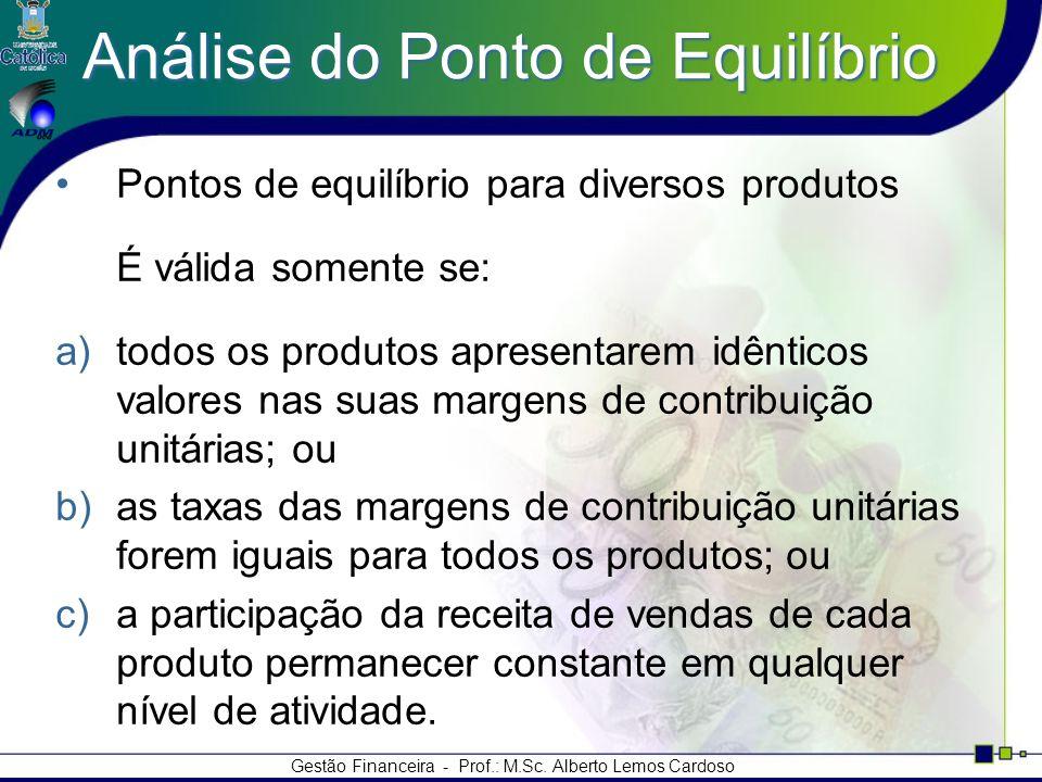Gestão Financeira - Prof.: M.Sc. Alberto Lemos Cardoso Análise do Ponto de Equilíbrio Pontos de equilíbrio para diversos produtos É válida somente se: