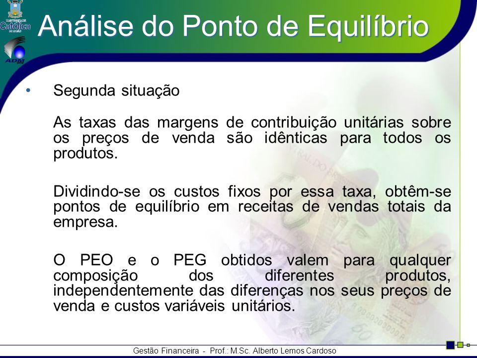 Gestão Financeira - Prof.: M.Sc. Alberto Lemos Cardoso Análise do Ponto de Equilíbrio Segunda situação As taxas das margens de contribuição unitárias