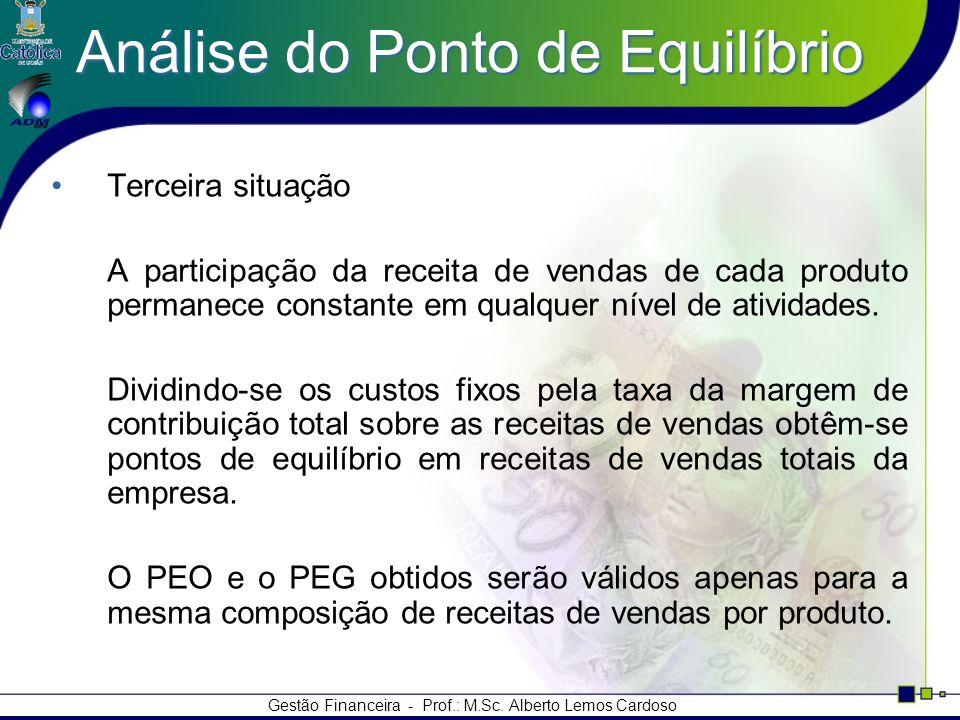 Gestão Financeira - Prof.: M.Sc. Alberto Lemos Cardoso Análise do Ponto de Equilíbrio Terceira situação A participação da receita de vendas de cada pr