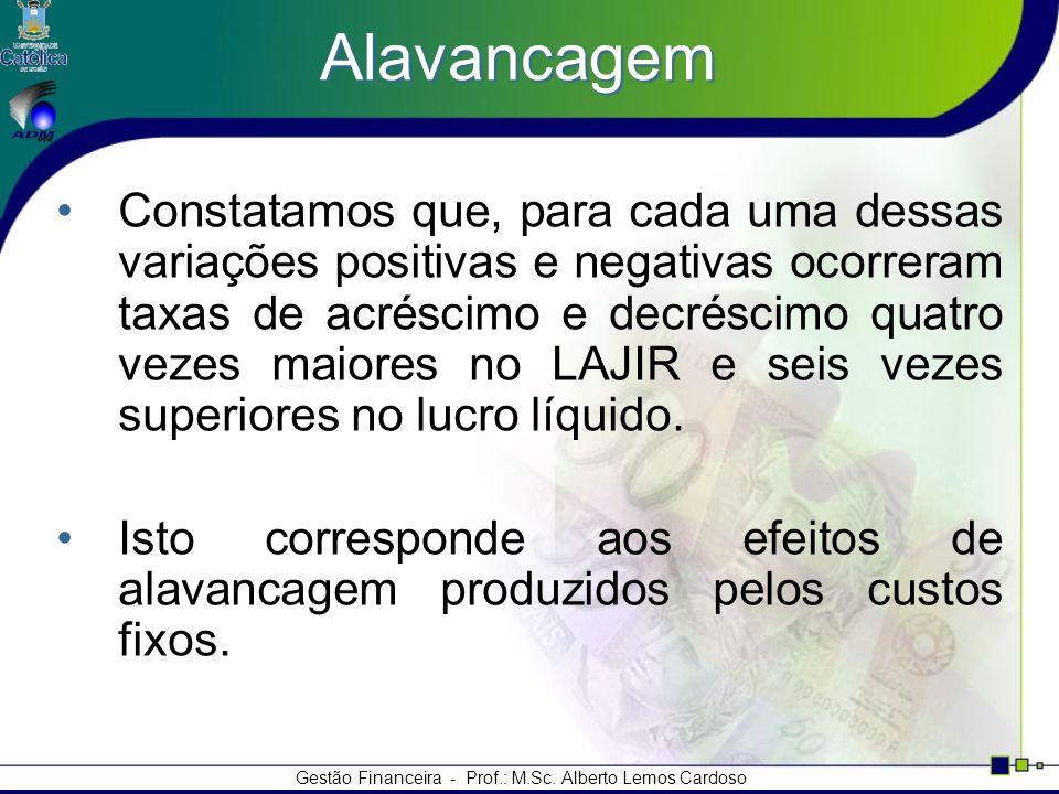 Gestão Financeira - Prof.: M.Sc. Alberto Lemos Cardoso Alavancagem Constatamos que, para cada uma dessas variações positivas e negativas ocorreram tax