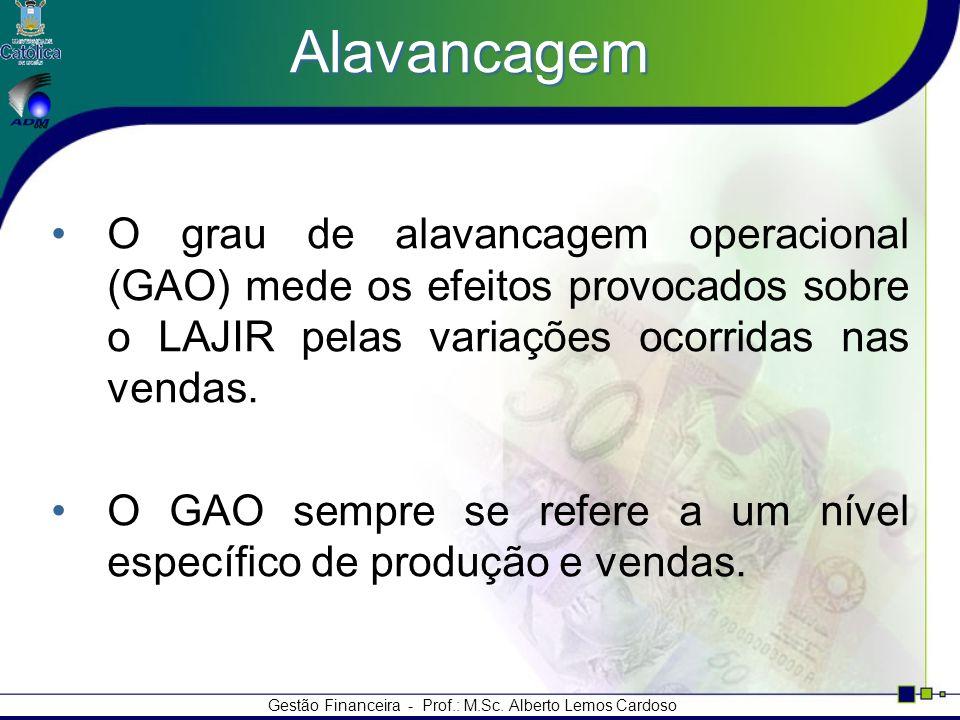 Gestão Financeira - Prof.: M.Sc. Alberto Lemos Cardoso Alavancagem O grau de alavancagem operacional (GAO) mede os efeitos provocados sobre o LAJIR pe