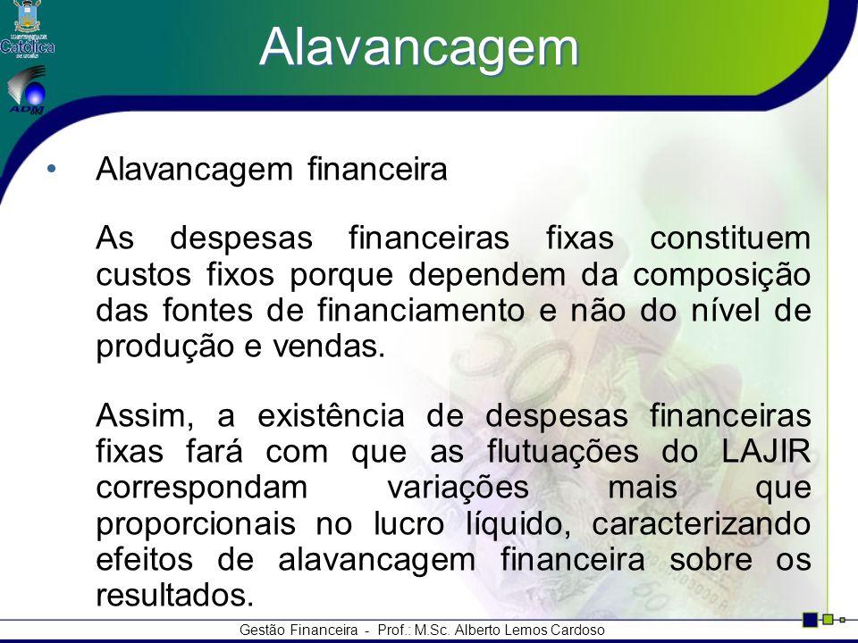 Gestão Financeira - Prof.: M.Sc. Alberto Lemos Cardoso Alavancagem Alavancagem financeira As despesas financeiras fixas constituem custos fixos porque
