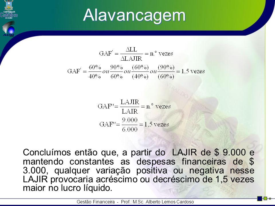 Gestão Financeira - Prof.: M.Sc. Alberto Lemos Cardoso Alavancagem Concluímos então que, a partir do LAJIR de $ 9.000 e mantendo constantes as despesa