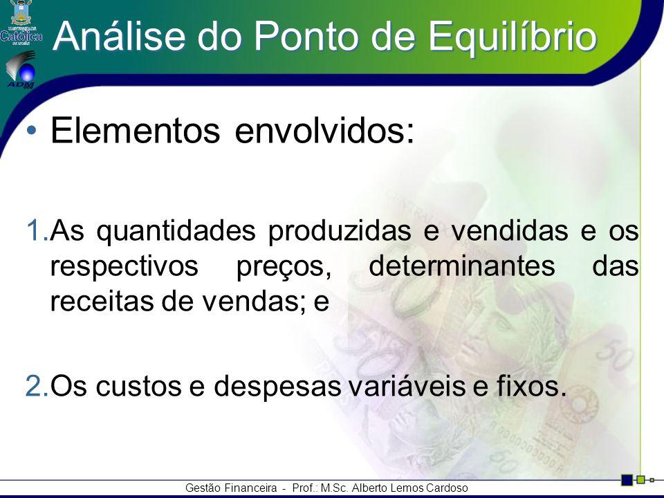 Gestão Financeira - Prof.: M.Sc. Alberto Lemos Cardoso Análise do Ponto de Equilíbrio Elementos envolvidos: 1.As quantidades produzidas e vendidas e o