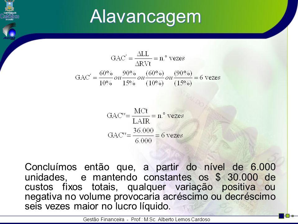 Gestão Financeira - Prof.: M.Sc. Alberto Lemos Cardoso Alavancagem Concluímos então que, a partir do nível de 6.000 unidades, e mantendo constantes os