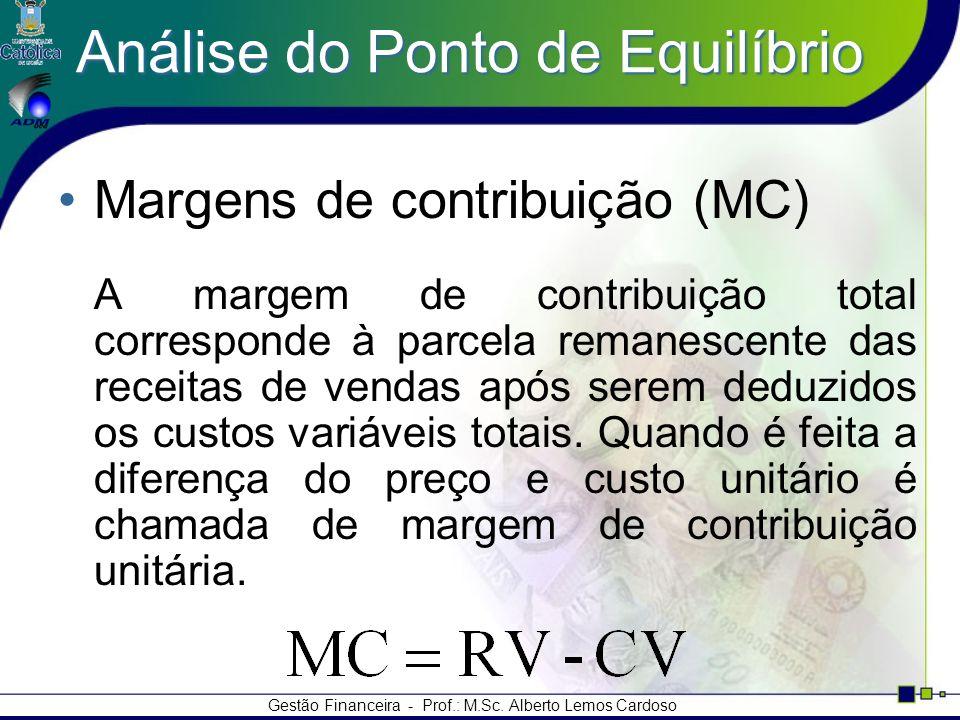 Gestão Financeira - Prof.: M.Sc. Alberto Lemos Cardoso Análise do Ponto de Equilíbrio Margens de contribuição (MC) A margem de contribuição total corr