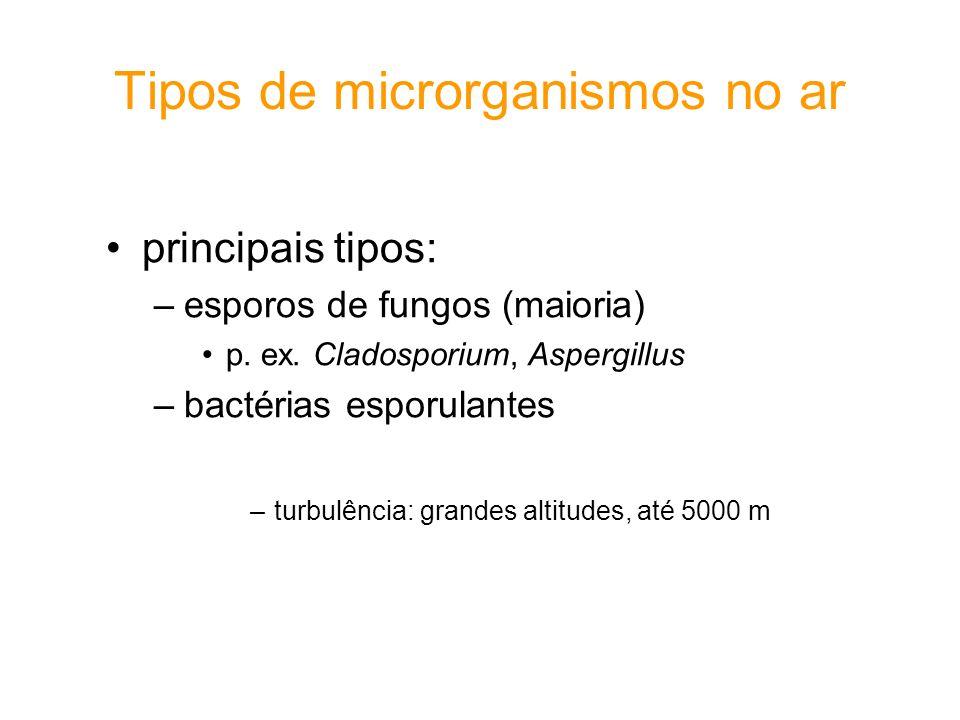 Importantes doenças transmitidas de pessoa a pessoa pela inalação de partículas aéreas Doenças viraisDoenças bacterianas Catapora (Varicela)Coqueluche (Bordetella pertussis) Gripe (Influenza)Meningite (Neisseria spp.) Sarampo (Rubeola)Difteria (Corynebacterium diphtheriae) Rubela (Rubella)Pneumonia (Mycoplasma peneumoniae, Caxumba Streptococcus spp.) VaríolaTuberculose/Lepra (Mycobacterium tuberculosis, M.