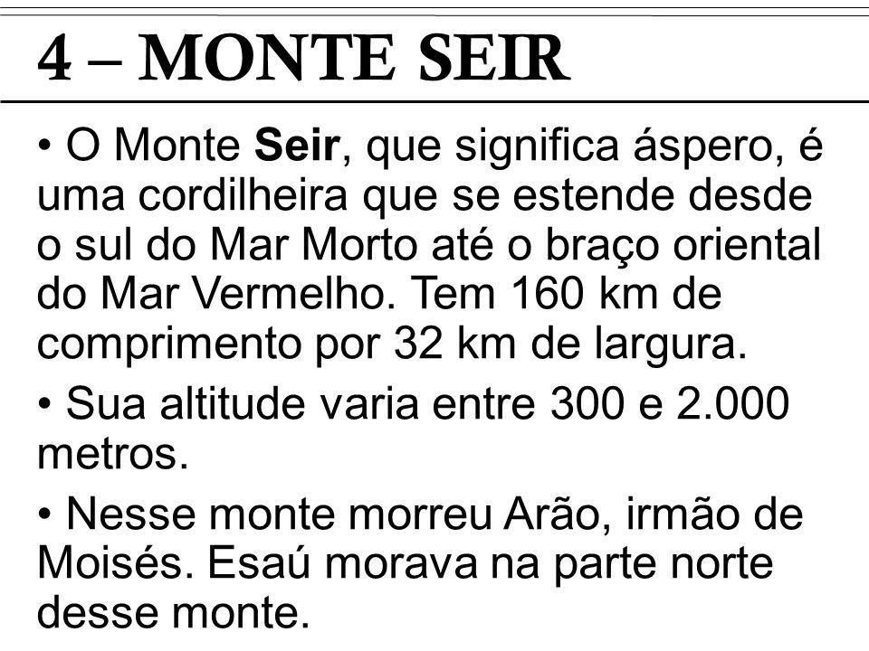 4 – MONTE SEIR O Monte Seir, que significa áspero, é uma cordilheira que se estende desde o sul do Mar Morto até o braço oriental do Mar Vermelho. Tem