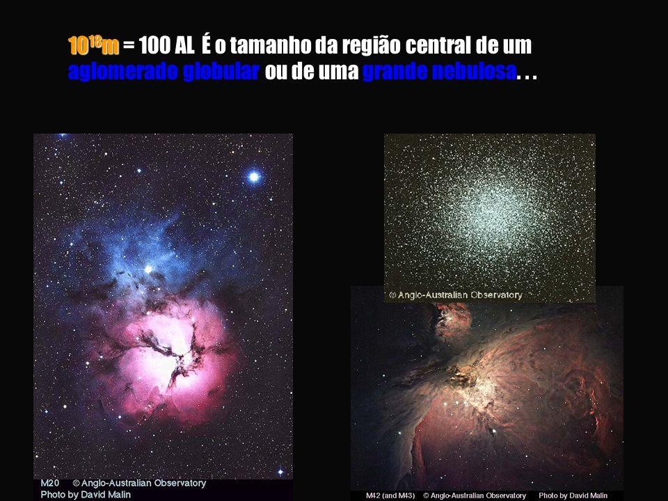 10 18 m = 100 AL É o tamanho da região central de um ou de uma 10 18 m = 100 AL É o tamanho da região central de um aglomerado globular ou de uma grande nebulosa...