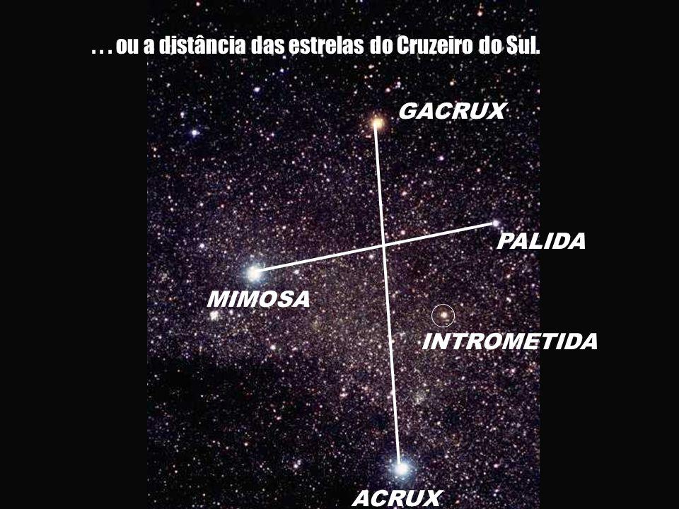 GACRUX ACRUX MIMOSA PALIDA INTROMETIDA... ou a distância das estrelas do Cruzeiro do Sul.