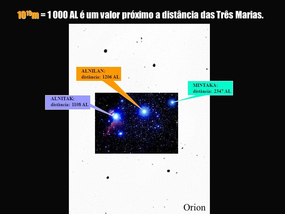 Orion 10 19 m = 1 000 AL é um valor próximo a distância das Três Marias.