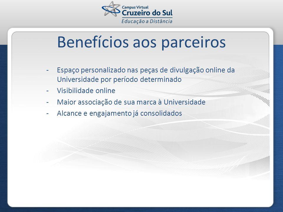 Benefícios aos parceiros -Espaço personalizado nas peças de divulgação online da Universidade por período determinado -Visibilidade online -Maior asso