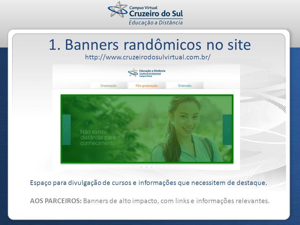 1. Banners randômicos no site http://www.cruzeirodosulvirtual.com.br/ Espaço para divulgação de cursos e informações que necessitem de destaque. AOS P