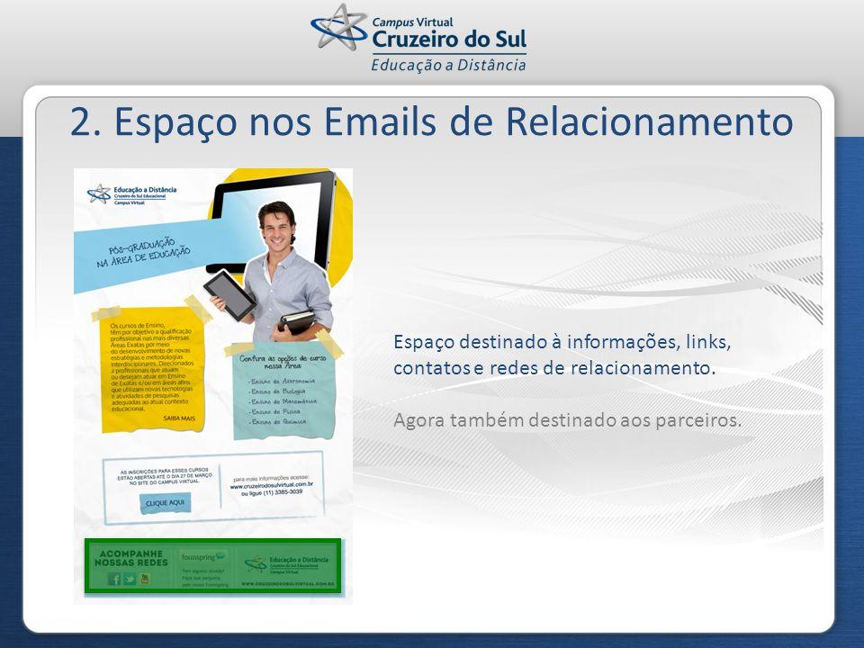2. Espaço nos Emails de Relacionamento Espaço destinado à informações, links, contatos e redes de relacionamento. Agora também destinado aos parceiros