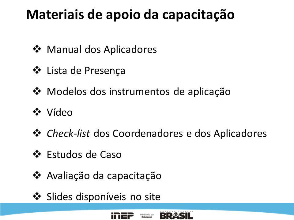 Materiais de apoio da capacitação Manual dos Aplicadores Lista de Presença Modelos dos instrumentos de aplicação Vídeo Check-list dos Coordenadores e
