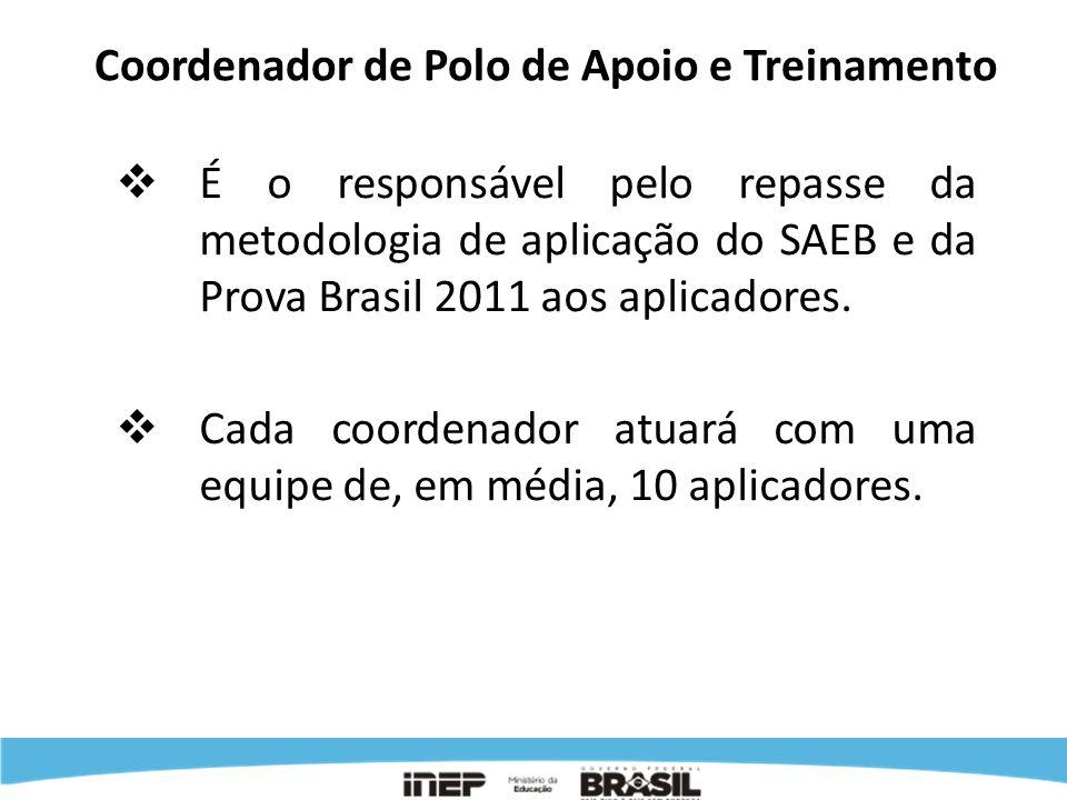 Coordenador de Polo de Apoio e Treinamento É o responsável pelo repasse da metodologia de aplicação do SAEB e da Prova Brasil 2011 aos aplicadores. Ca