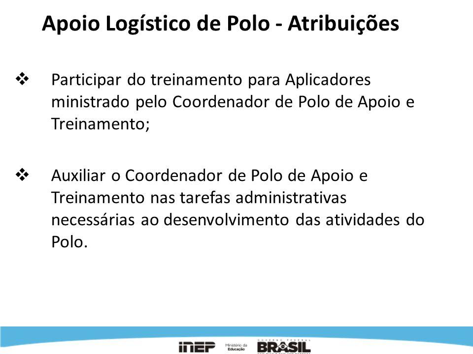 Apoio Logístico de Polo - Atribuições Participar do treinamento para Aplicadores ministrado pelo Coordenador de Polo de Apoio e Treinamento; Auxiliar