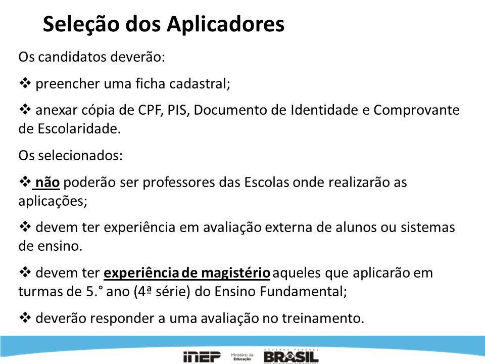 Seleção dos Aplicadores Os candidatos deverão: preencher uma ficha cadastral; anexar cópia de CPF, PIS, Documento de Identidade e Comprovante de Escol