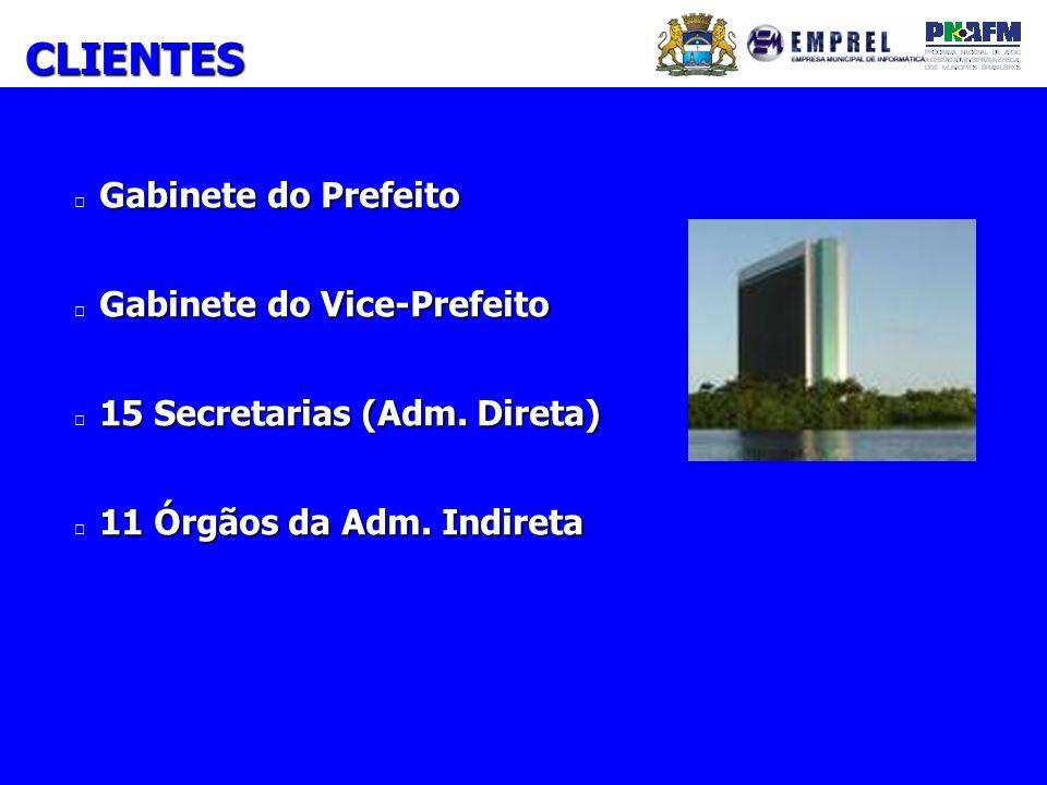 Gabinete do Prefeito Gabinete do Vice-Prefeito 15 Secretarias (Adm. Direta) 11 Órgãos da Adm. Indireta CLIENTES