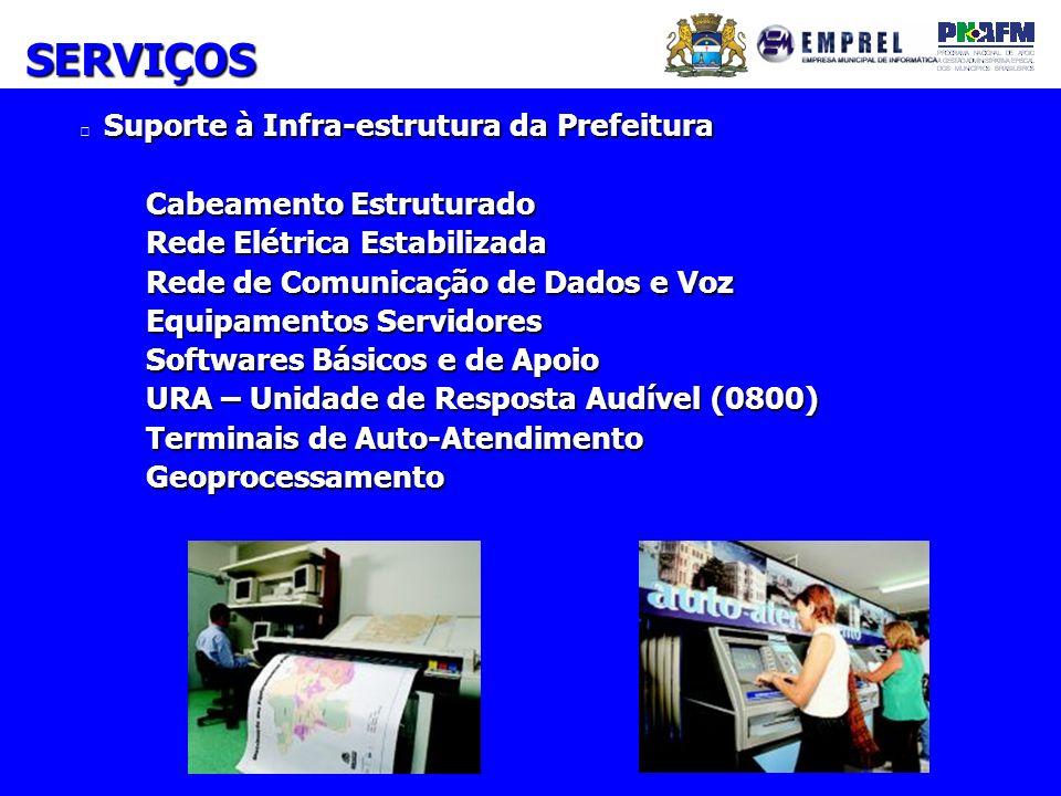 Suporte à Infra-estrutura da Prefeitura Cabeamento Estruturado Rede Elétrica Estabilizada Rede de Comunicação de Dados e Voz Equipamentos Servidores S