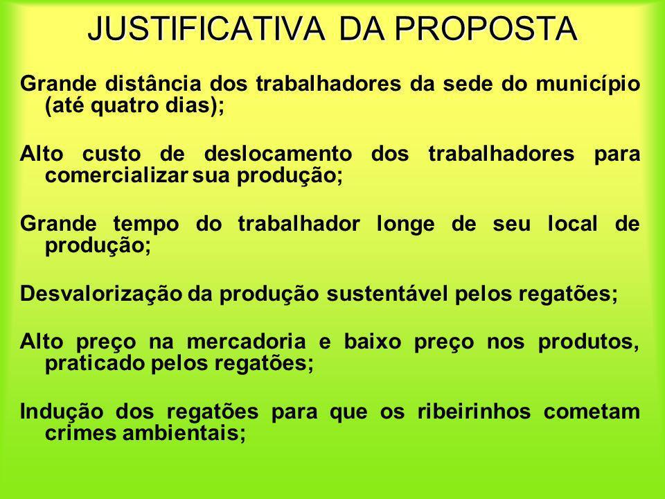 JUSTIFICATIVA DA PROPOSTA Grande distância dos trabalhadores da sede do município (até quatro dias); Alto custo de deslocamento dos trabalhadores para