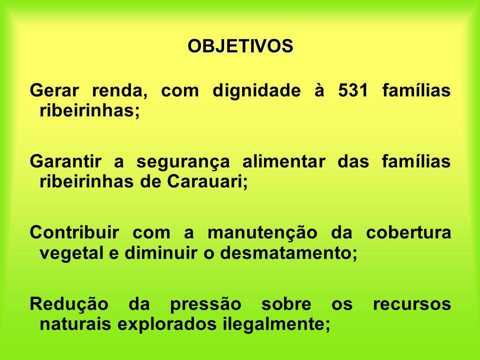 OBJETIVOS Gerar renda, com dignidade à 531 famílias ribeirinhas; Garantir a segurança alimentar das famílias ribeirinhas de Carauari; Contribuir com a