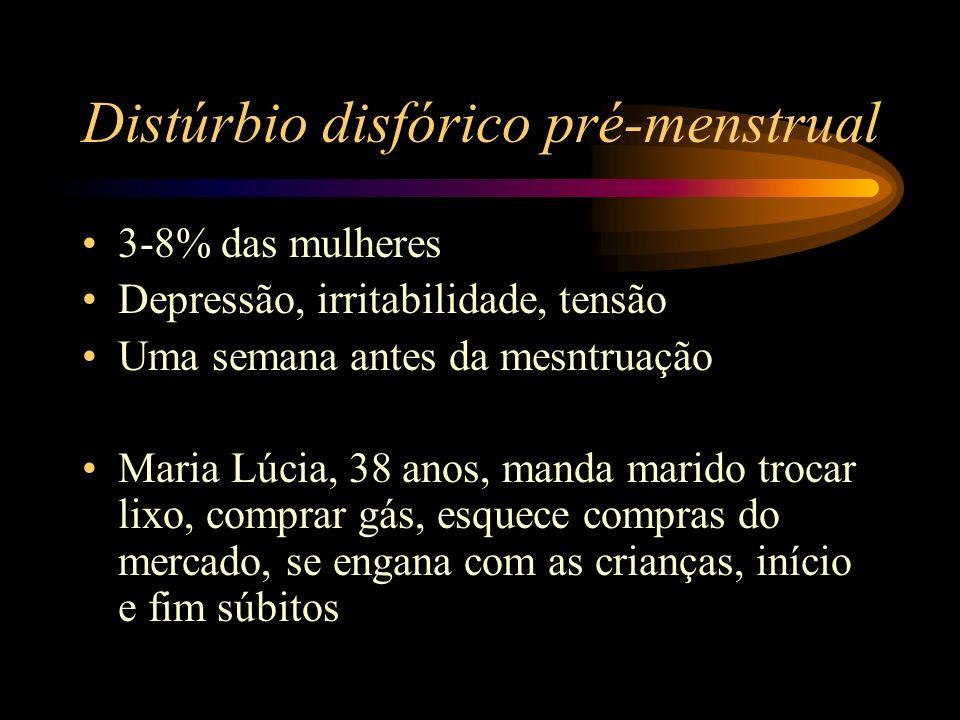 Distúrbio disfórico pré-menstrual 3-8% das mulheres Depressão, irritabilidade, tensão Uma semana antes da mesntruação Maria Lúcia, 38 anos, manda mari