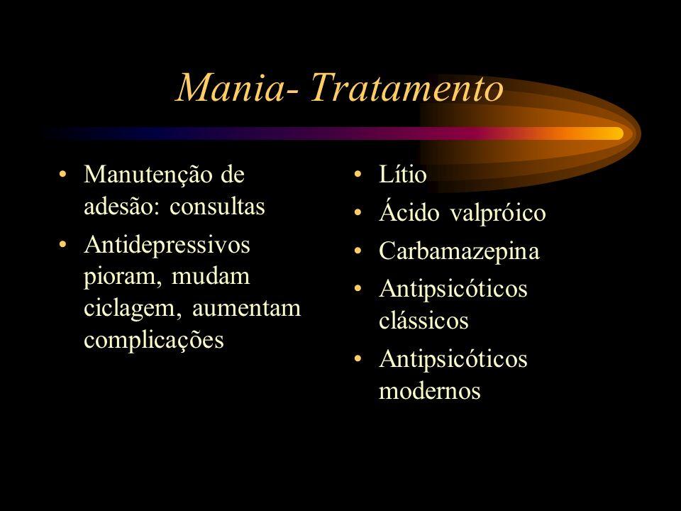 Mania- Tratamento Manutenção de adesão: consultas Antidepressivos pioram, mudam ciclagem, aumentam complicações Lítio Ácido valpróico Carbamazepina An