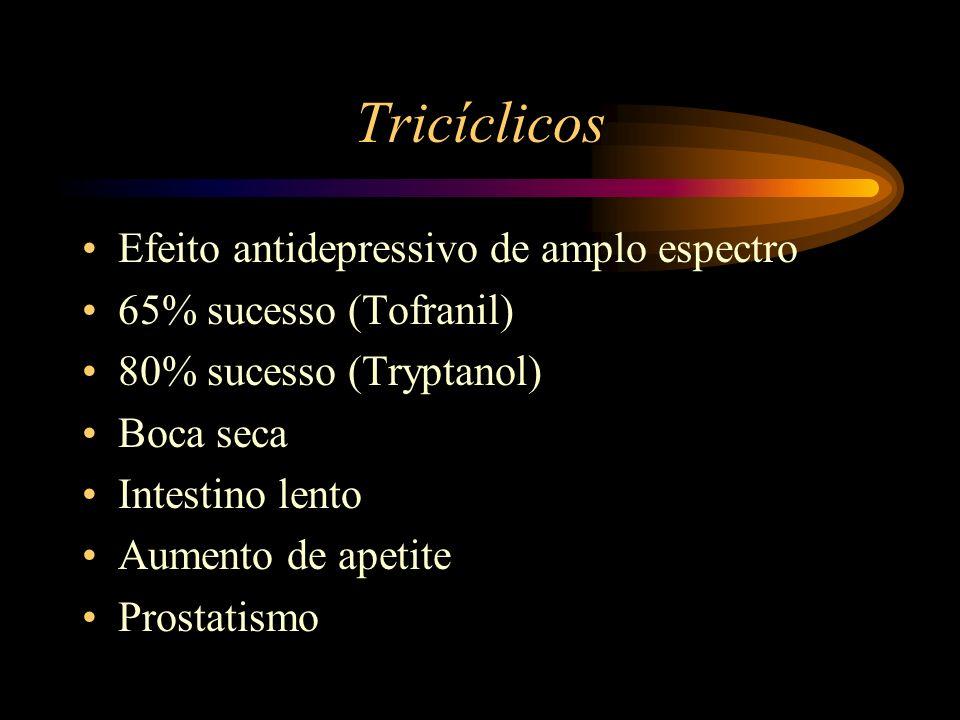 Tricíclicos Efeito antidepressivo de amplo espectro 65% sucesso (Tofranil) 80% sucesso (Tryptanol) Boca seca Intestino lento Aumento de apetite Prosta