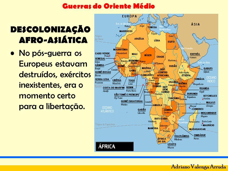 Guerras do Oriente Médio Adriano Valenga Arruda DESCOLONIZAÇÃO AFRO-ASIÁTICA No pós-guerra os Europeus estavam destruídos, exércitos inexistentes, era