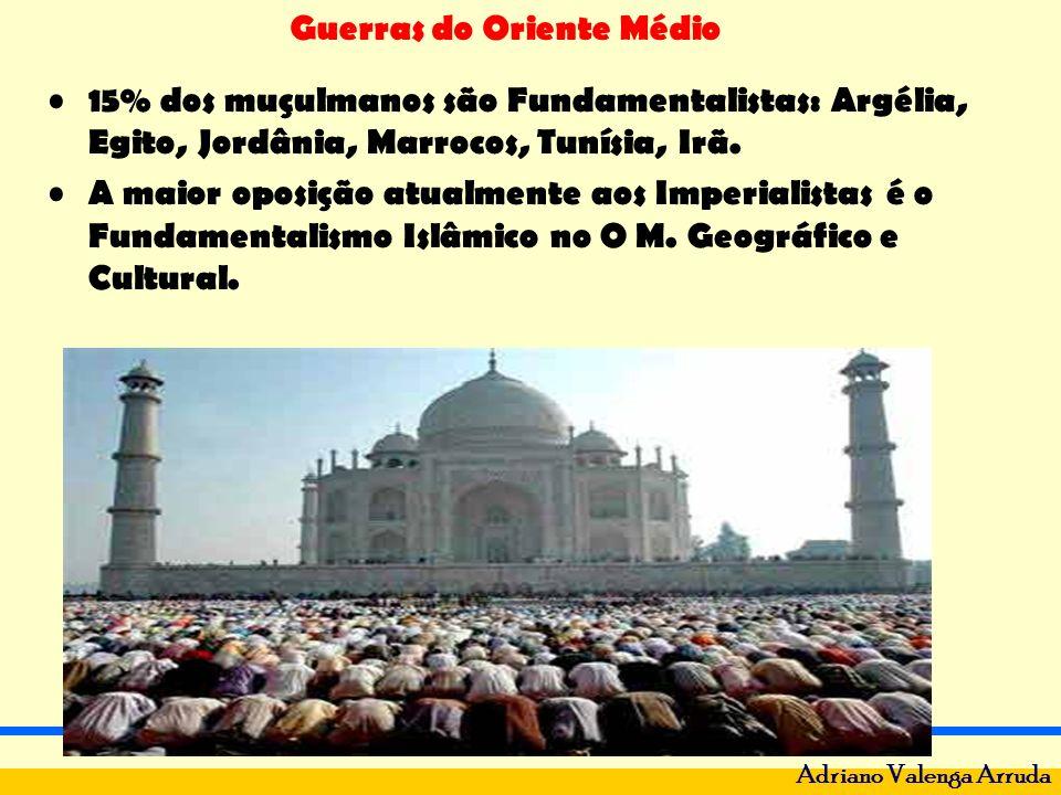 Guerras do Oriente Médio Adriano Valenga Arruda 15% dos muçulmanos são Fundamentalistas: Argélia, Egito, Jordânia, Marrocos, Tunísia, Irã. A maior opo