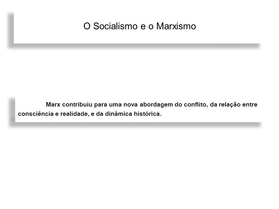 O Socialismo e o Marxismo Marx contribuiu para uma nova abordagem do conflito, da relação entre consciência e realidade, e da dinâmica histórica.