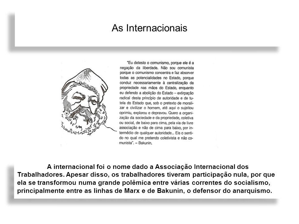 As Internacionais A internacional foi o nome dado a Associação Internacional dos Trabalhadores. Apesar disso, os trabalhadores tiveram participação nu