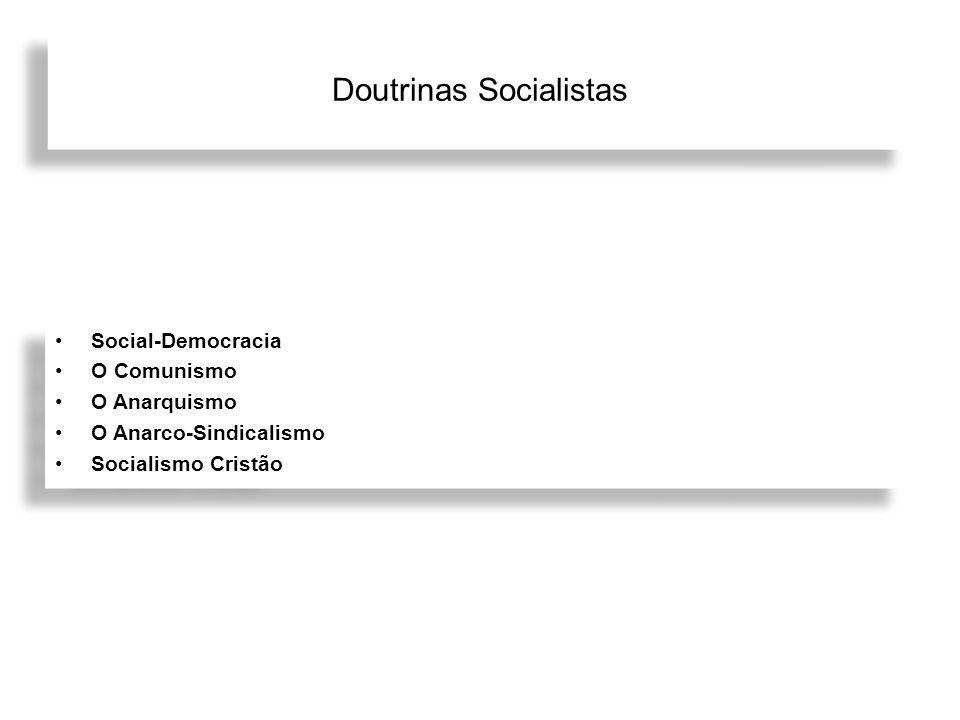 Doutrinas Socialistas Social-Democracia O Comunismo O Anarquismo O Anarco-Sindicalismo Socialismo Cristão Social-Democracia O Comunismo O Anarquismo O