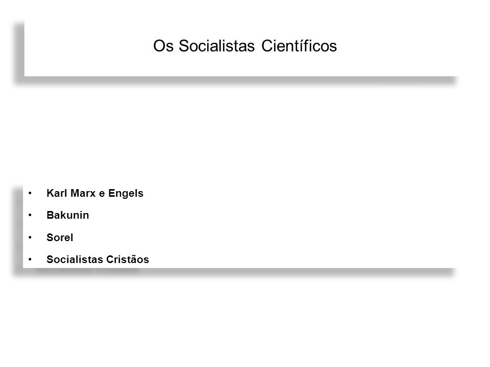 Os Socialistas Científicos Karl Marx e Engels Bakunin Sorel Socialistas Cristãos Karl Marx e Engels Bakunin Sorel Socialistas Cristãos