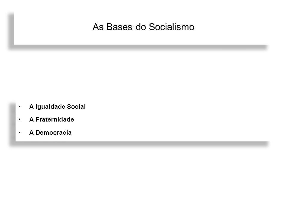 As Bases do Socialismo A Igualdade Social A Fraternidade A Democracia A Igualdade Social A Fraternidade A Democracia