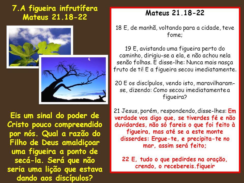 Mateus 21.18-22 18 E, de manhã, voltando para a cidade, teve fome; 19 E, avistando uma figueira perto do caminho, dirigiu-se a ela, e não achou nela s