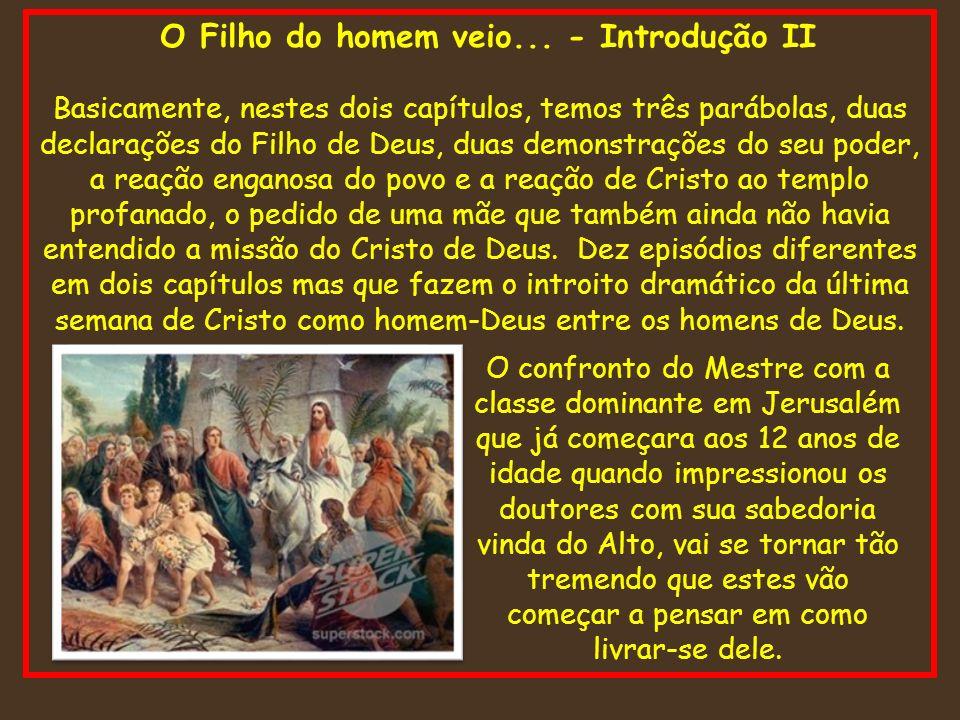O Filho do homem veio... - Introdução II Basicamente, nestes dois capítulos, temos três parábolas, duas declarações do Filho de Deus, duas demonstraçõ